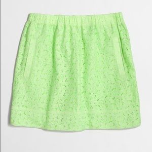 J. CREW Factory Lime Green Floral Lace Skirt